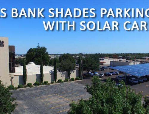 Texas Bank Shades Parking Lot with Solar Carport